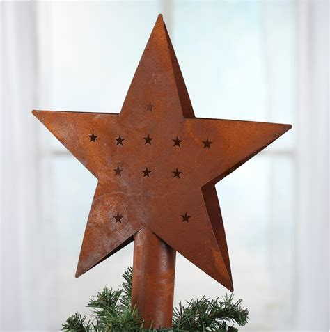 primitive rusty tin tree topper christmas trees and