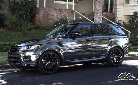 chrome range rover evoque range rover sport featuring black chrome vinyl wrap and
