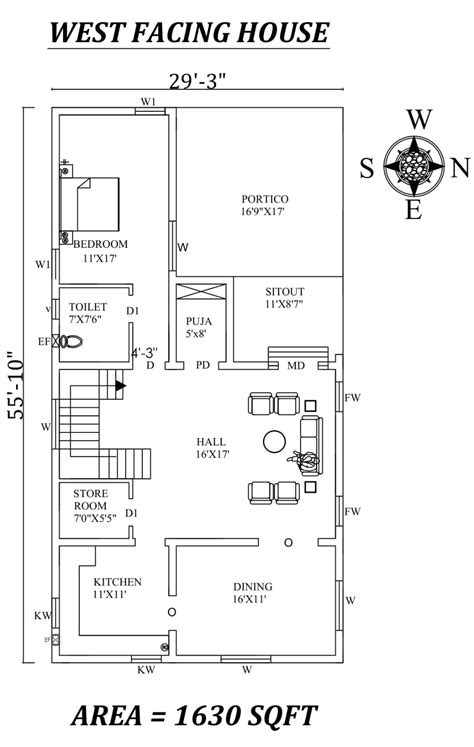 29'X55' Single bhk West facing House Plan Layout As Per