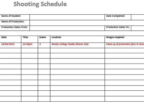 shooting schedule template shooting schedule templates