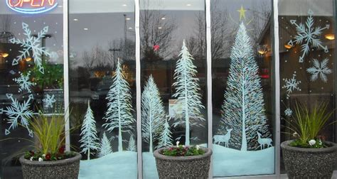 window painting for christmas snow trees and tree by window painting on deviantart