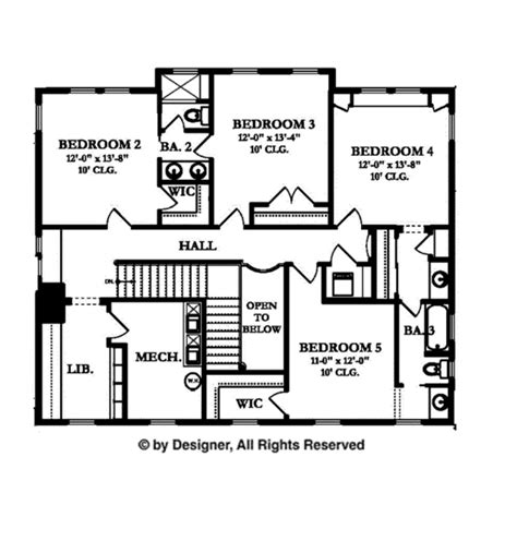 mechanical floor plan colonial style house plan 5 beds 3 5 baths 4457 sq ft