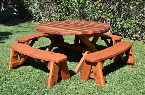 round table with bench picnic benches with round table lustwithalaugh design