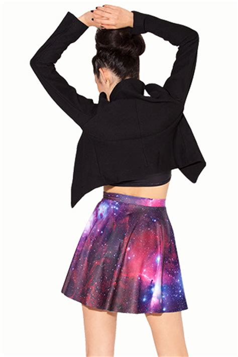 cheap elastic high waist starry sky print polyester