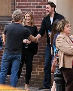 John krasinski takes wife emily blunt to see his former tv spouse