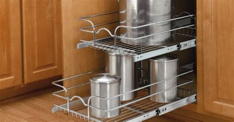 rev a shelf medium pull out drawer rev a shelf 12 quot double pull out basket chrome easy
