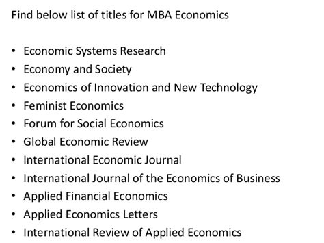 What Is Mba In Economics by Project Report Titles For Mba In Economics