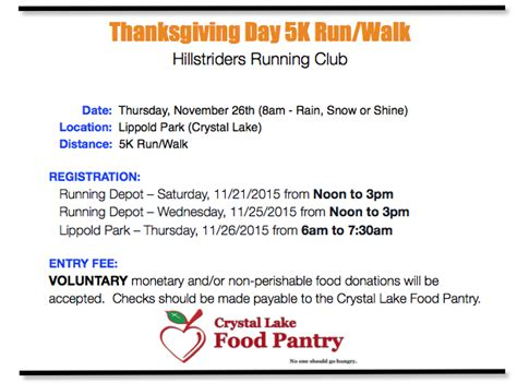 upcoming events crystal lake training show may 2015 7 hours ce crystal lake thanksgiving day 5k registration 11 21 11