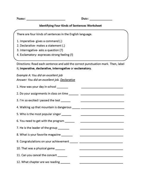 practicing  kinds  sentences worksheet language