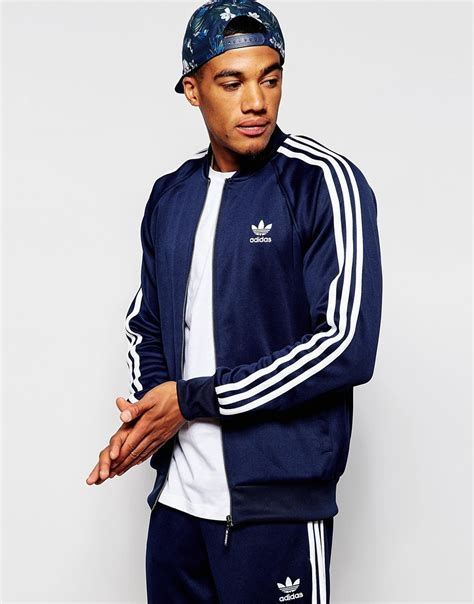 Jaket Outware Navy Original lyst adidas originals superstar track jacket ab9715 in blue for