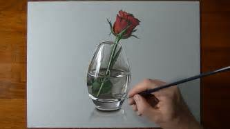 Single Rose Bud Vase Drawing Time Lapse A Red Rose In Glass Vase Youtube