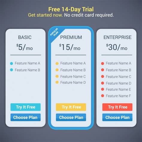 Plan Subscription Design Vector Free Download Subscription Plan Template
