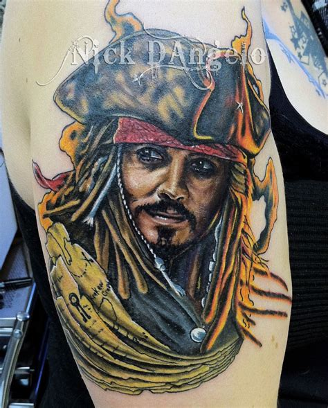 jack sparrow tattoos sparrow by nickdangelotattoos deviantart