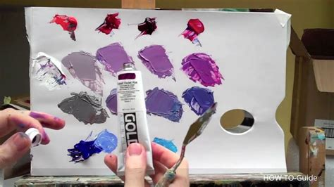 how to mix acrylic paint to get purple color colour mixing