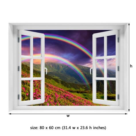 peel and stick wall mural window wall mural rainbow the flowers peel and stick