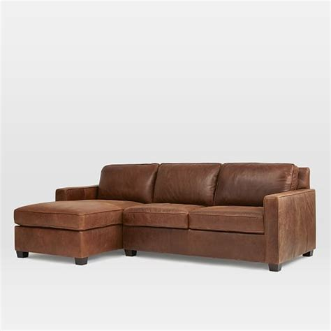 henry leather sectional henry 174 leather 2 piece chaise sectional molasses west elm