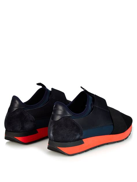 balenciaga sneakers for lyst balenciaga paneled leather and suede sneakers in