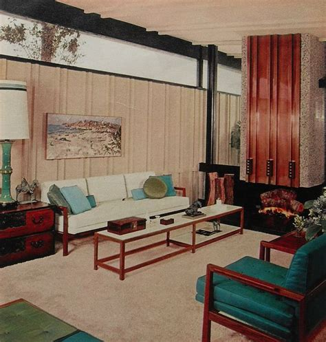 sixties living room 1960s modern clean lines bold color aqua white vintage interior design photo vintage interior