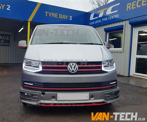 drl volkswagen vw transporter t6 led drl light bar headlights tech