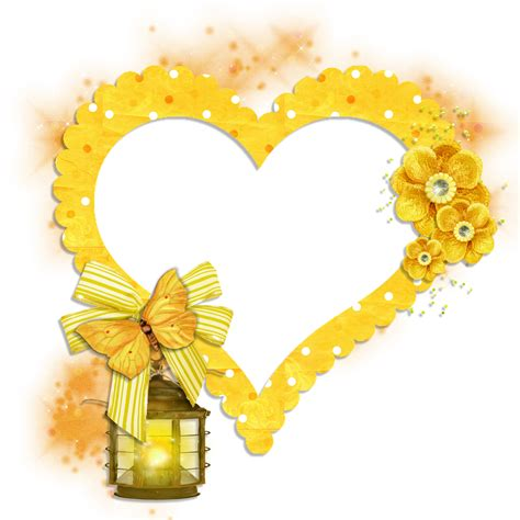 transparent frame yellow heart with butterfly flowers and