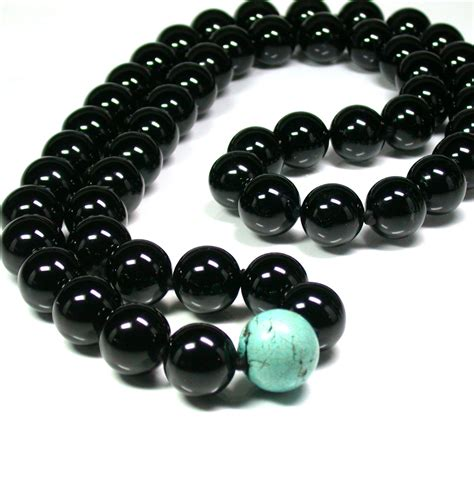black onyx bead necklace black onyx and turquoise bead necklace