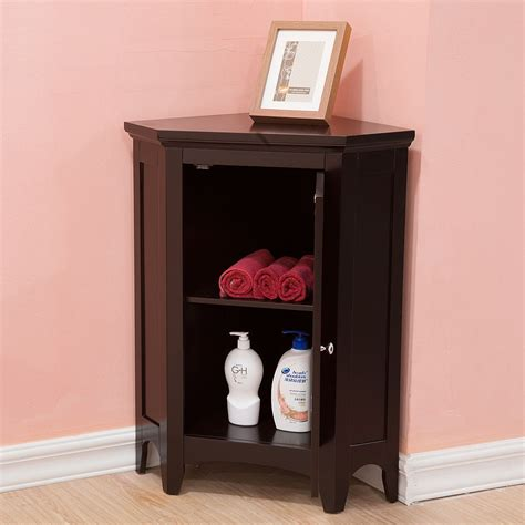 Corner Cabinet Bathroom Storage Bayfield Espresso Shutter Door Corner Floor Cabinet By Home Fashions Ebay