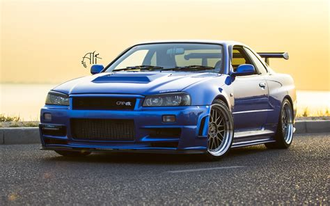 nissan blue car nissan gtr r34 blue car wallpaper cars wallpaper better