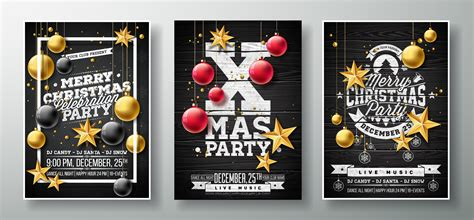 vector merry christmas party flyer illustration  gold cutout paper star glass ball