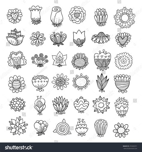 doodlebug florist byron ga doodle flowers set stock vector illustratie 255383371