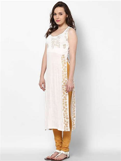 Office Pots buy kukn114 white viscose long slit kurti online