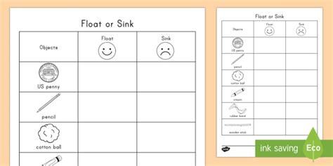 sink or float worksheet float or sink worksheet activity sheet physical science