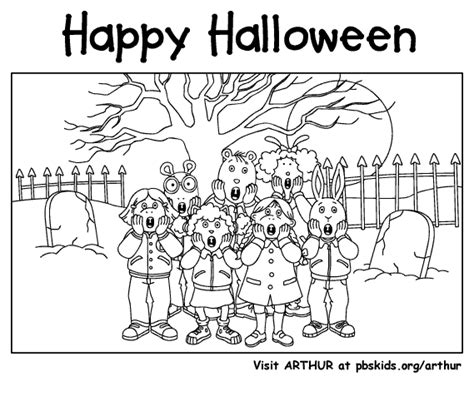 halloween coloring pages music arthur halloween pbs kids