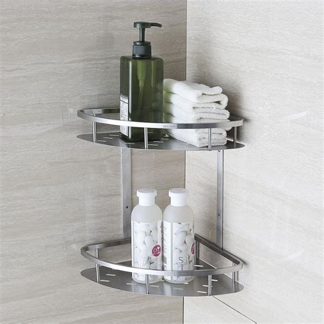 Blh 821 Double Tier Brushed Nickel Stainless Steel Wall Bathroom Shower Shelves Stainless Steel