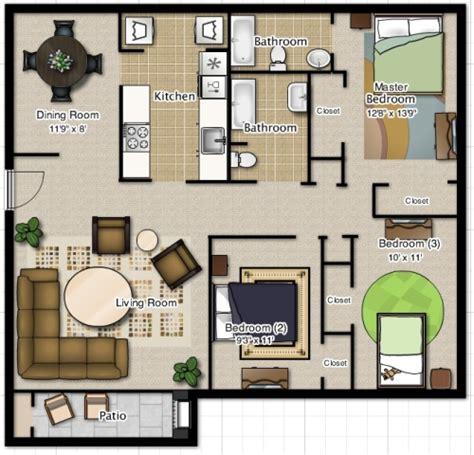 8 Beautiful 2 Bedroom Apartment Floor Plans House And | denah rumah 3 kamar secara minimalis dan mendetail