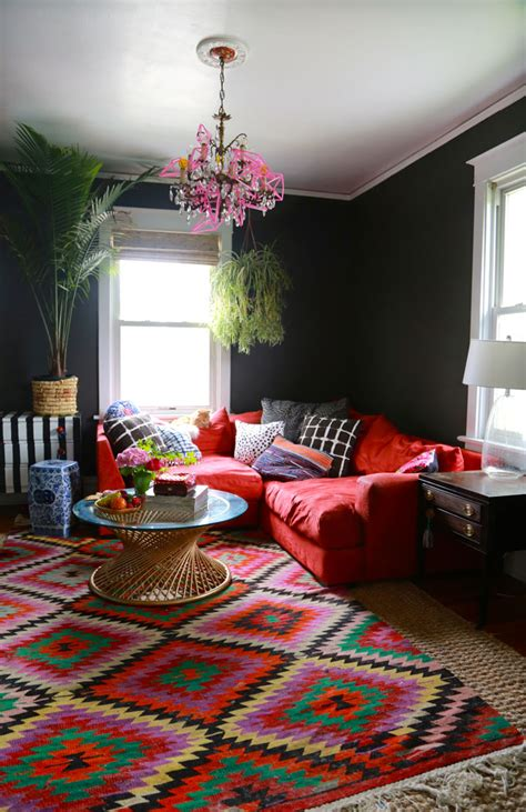black painted living room greige walls high ceilings and ls