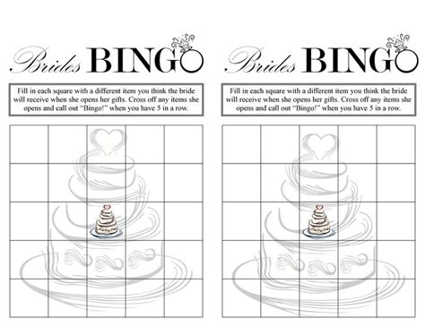 Blank Bingo Card Template For Bridal Shower by Bridal Shower Bingo Free Printable Ideas Bridal