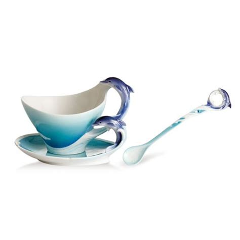 Dolphin Cup With Saucer And Spoon dolphin porcelain cup saucer set and spoon franz