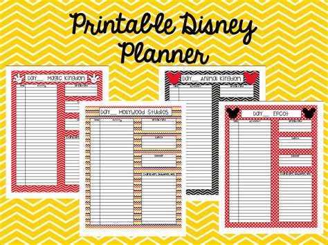 printable disney day planner instant download printable disney planner agenda itinerary