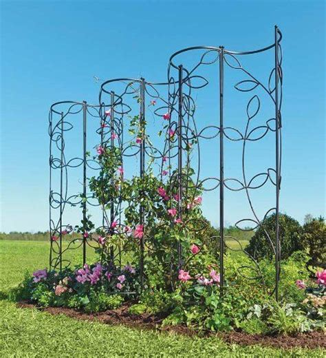 Metal Plant Trellis Steel Leaf Obelisk Trellis By Plow Hearth 54 99
