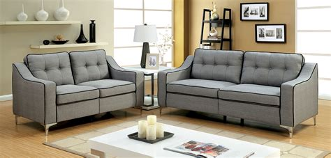 Living Room Fabric Sofas Glenda Contemporary Style Gray Fabric Sofa Loveseat Living Room Set