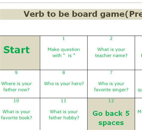 printable games with the verb to be verb to be board game present simple