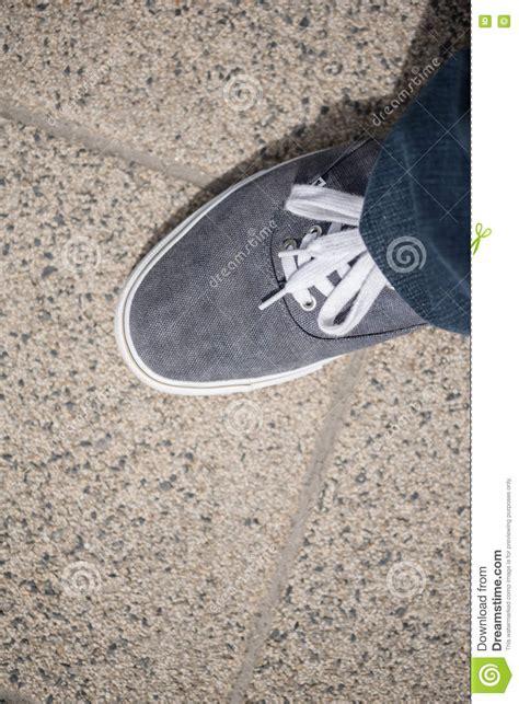canvas shoes walking on concrete stock photo image 70287830