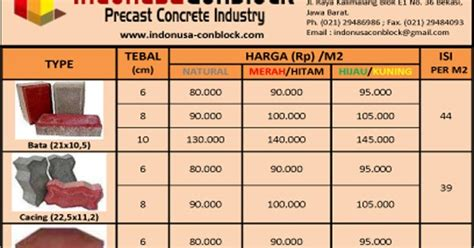 3 Di Pasaran daftar harga paving block conblock per meter 2016