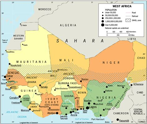 west africa map capitals west countries and capitals
