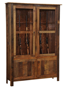 Woven Leather Rugs Barnwood Gun Cabinet