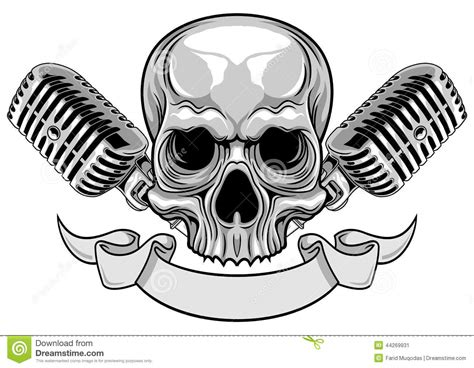 skull with microphone and ribbon stock vector image