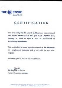 Work Certification Letter For Embassy Certificate Of Employment Msi Sm Dep Store