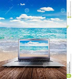 Wooden Laptop Desk Laptop On Wooden Desk View On The Sea Stock Photo Image