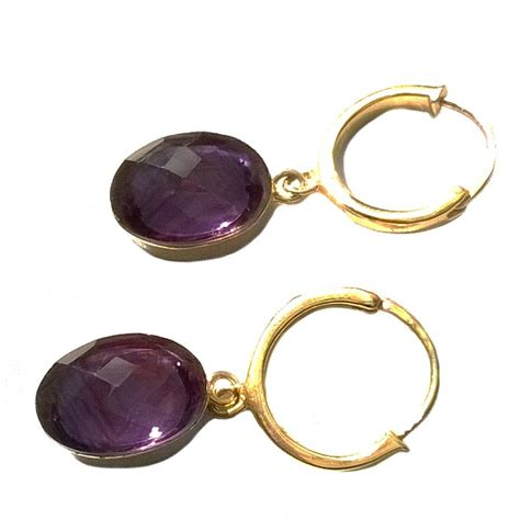 amethyst gemstone earrings gold hoop by amara amara