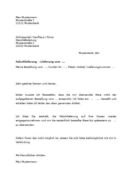 Reklamationsbrief Antworten Muster Reklamation Wegen Falschlieferung Hier Downloaden